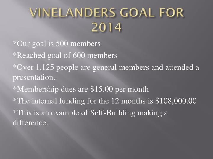 VINELANDERS GOAL FOR 2014