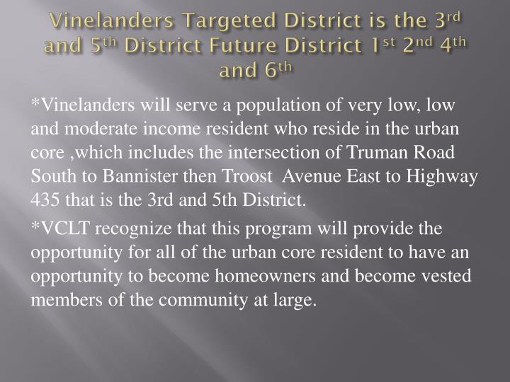 Vinelanders Targeted District is the 3