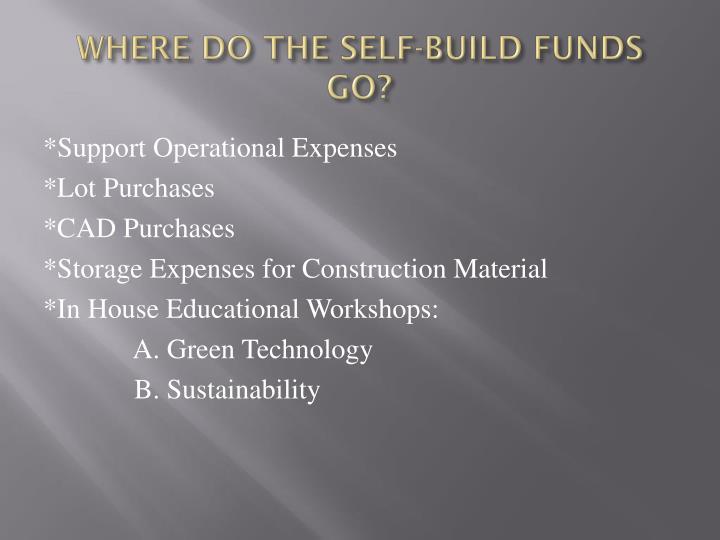 WHERE DO THE SELF-BUILD FUNDS GO?