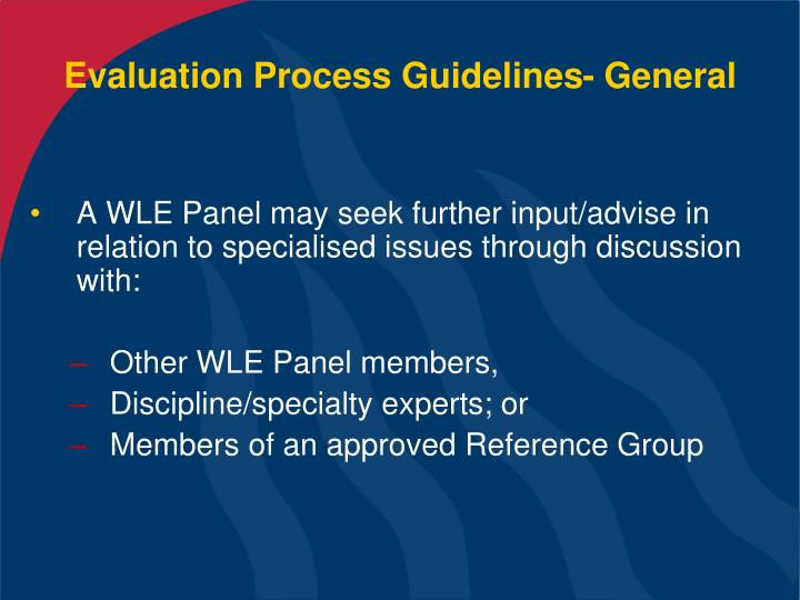 Evaluation Process Guidelines- General