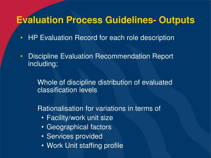 Evaluation Process Guidelines- Outputs
