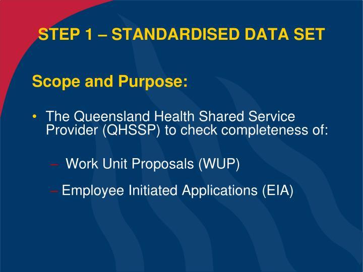 STEP 1 – STANDARDISED DATA SET