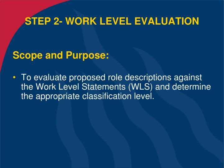 STEP 2- WORK LEVEL EVALUATION