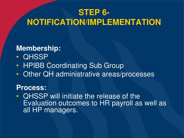 STEP 6- NOTIFICATION/IMPLEMENTATION