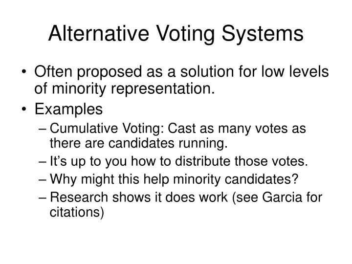 Alternative Voting Systems