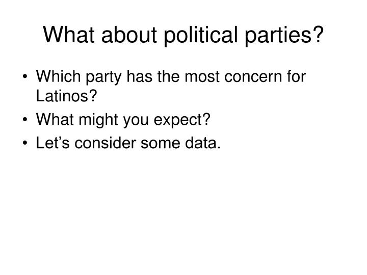 What about political parties?