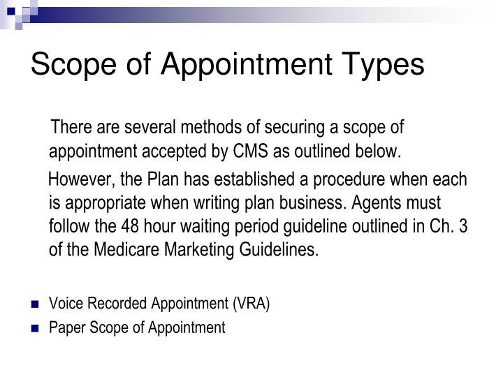 Scope of appointment types