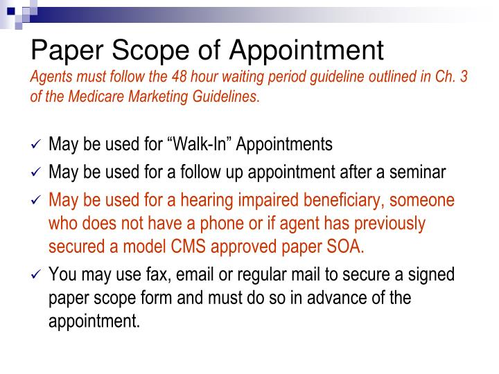 Paper Scope of Appointment