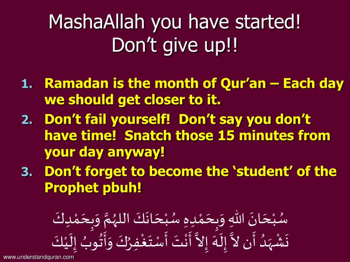 MashaAllah you have started!
