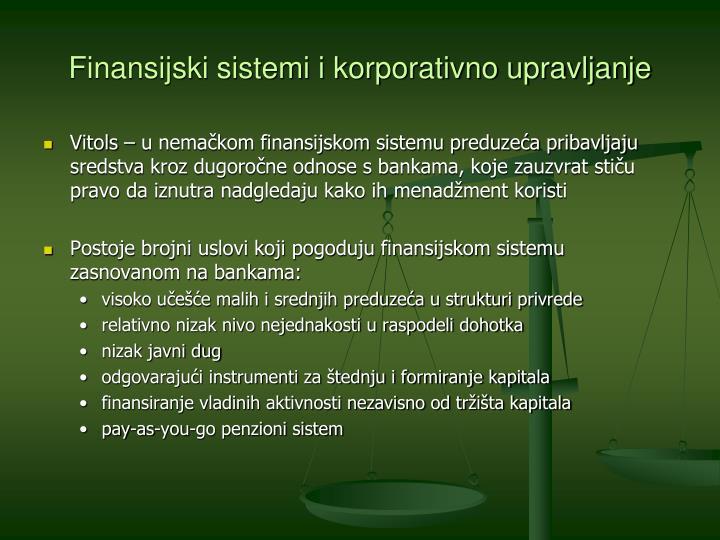Finansijski sistemi i korporativno upravljanje