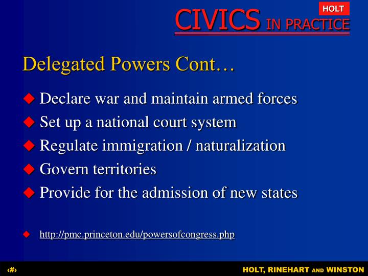 Delegated Powers Cont…