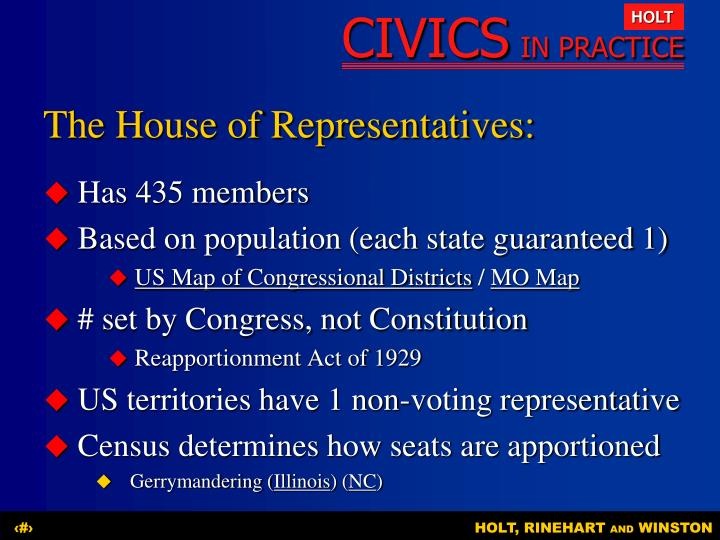 The House of Representatives: