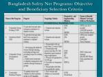 bangladesh safety net programs objective and beneficiary selection criteria