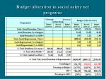 budget allocation in social safety net programs