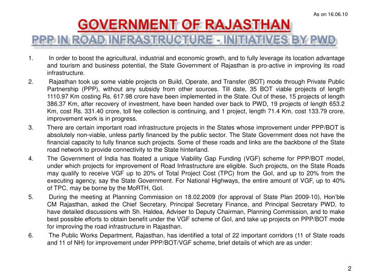 Government of rajasthan ppp in road infrastructure initiatives by pwd