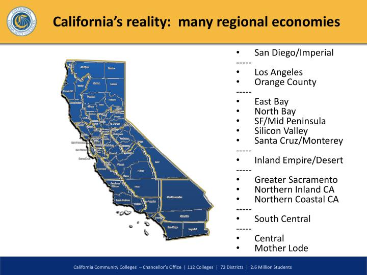 California's reality:  many regional economies
