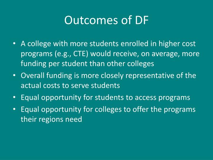 Outcomes of DF