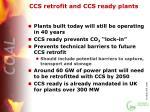 ccs retrofit and ccs ready plants