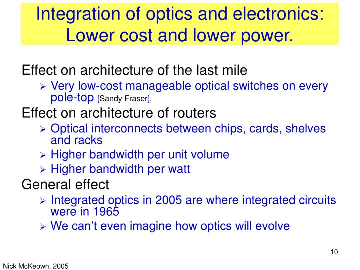 Integration of optics and electronics: