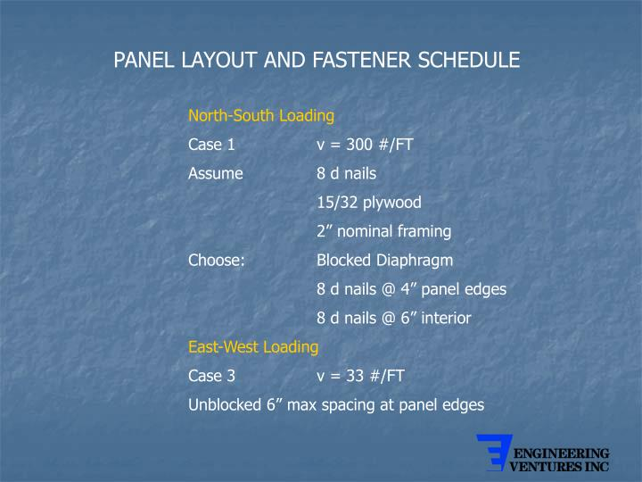 PANEL LAYOUT AND FASTENER SCHEDULE