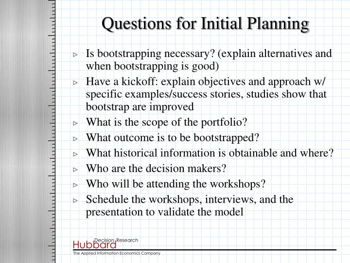 Questions for Initial Planning