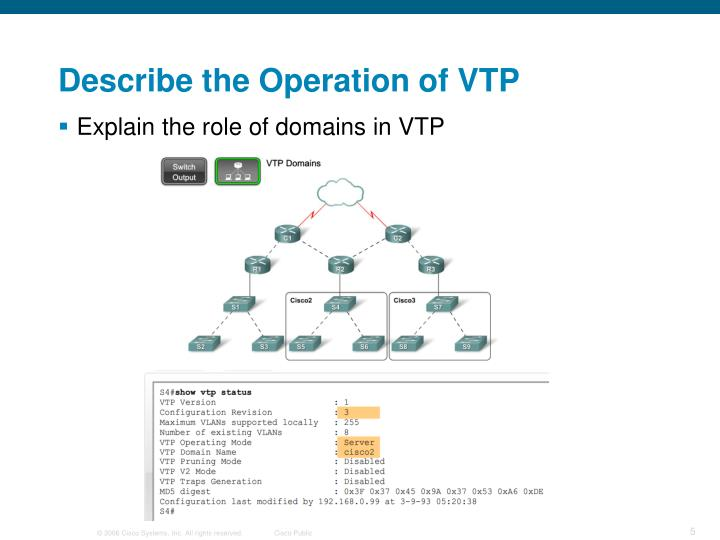 Describe the Operation of VTP
