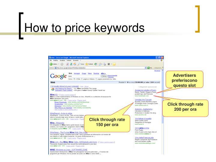 How to price keywords