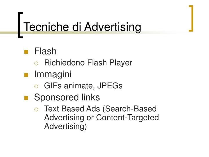 Tecniche di Advertising