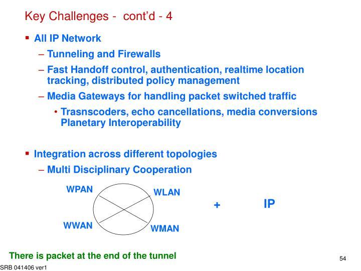 Key Challenges -  cont'd - 4