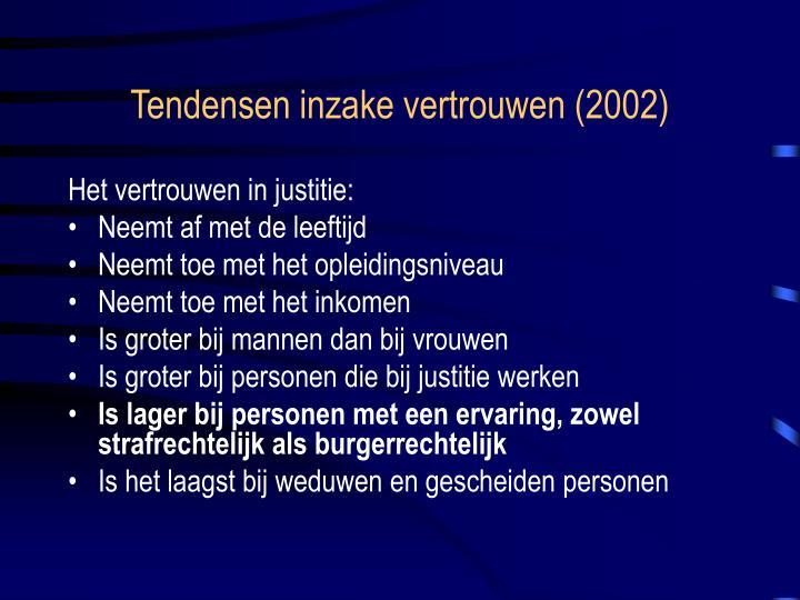 Tendensen inzake vertrouwen (2002)