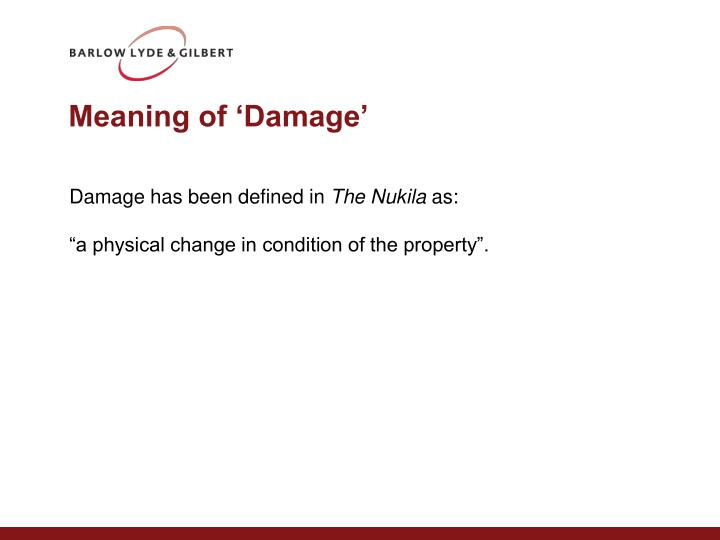 Meaning of 'Damage'