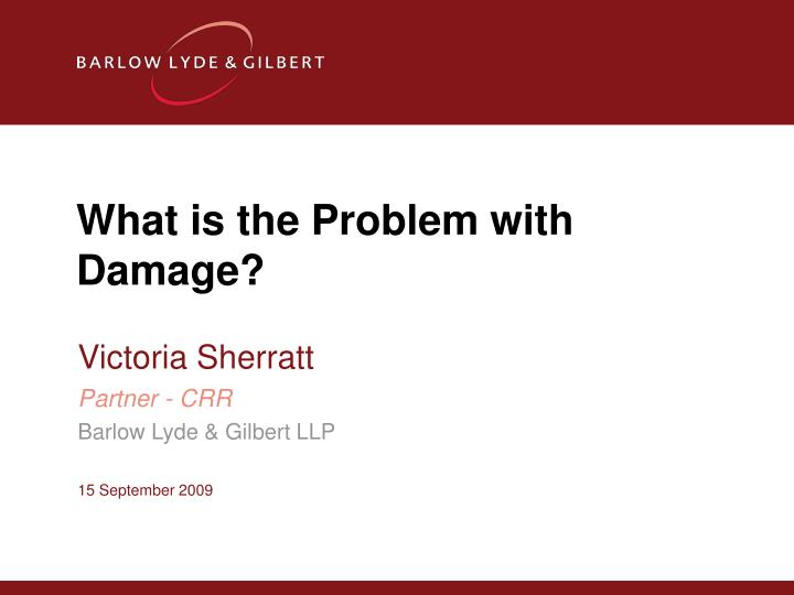 What is the Problem with Damage?