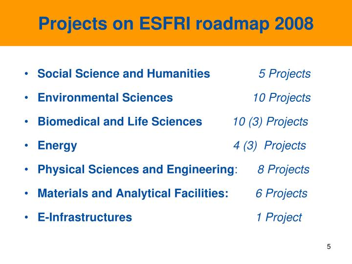 Projects on ESFRI roadmap 2008