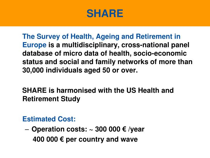 The Survey of Health, Ageing and Retirement in Europe