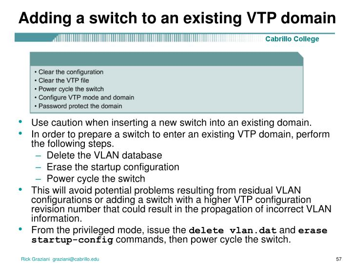 Adding a switch to an existing VTP domain