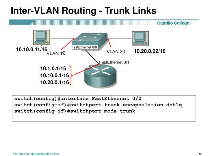 Inter-VLAN Routing - Trunk Links