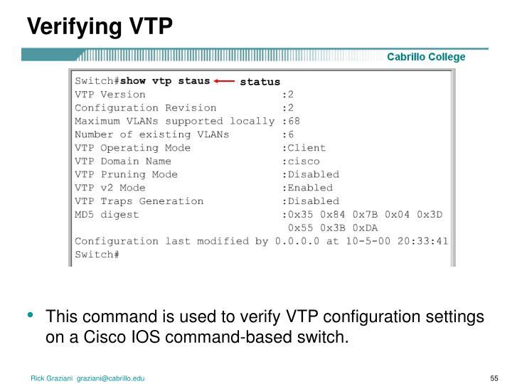 Verifying VTP