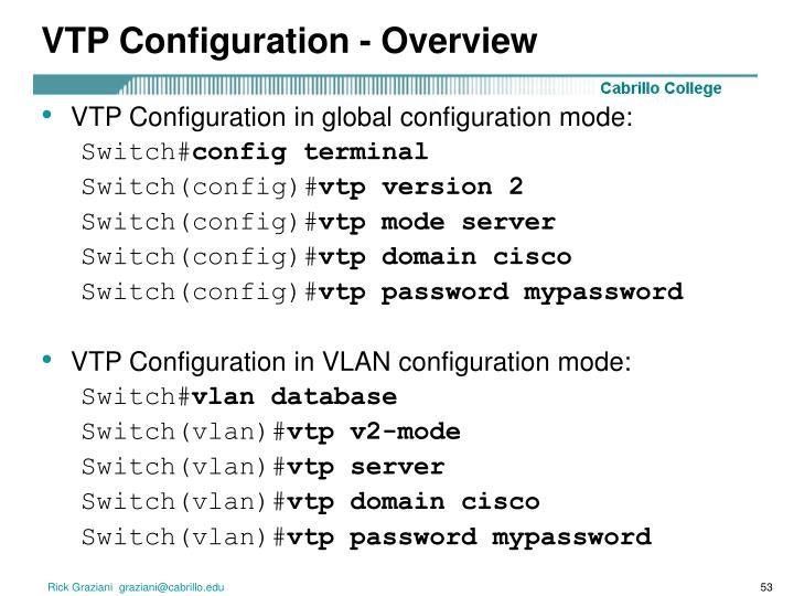 VTP Configuration - Overview