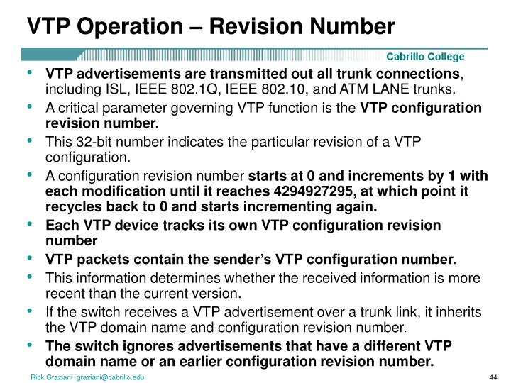VTP Operation – Revision Number