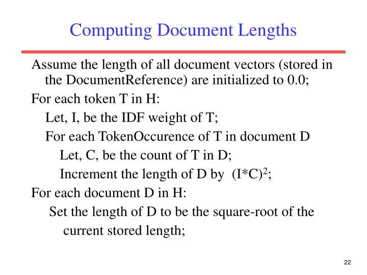 Computing Document Lengths