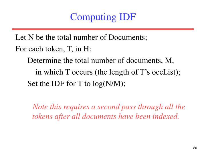 Computing IDF
