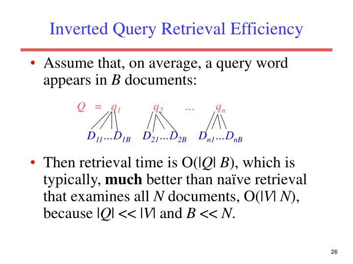 Inverted Query Retrieval Efficiency