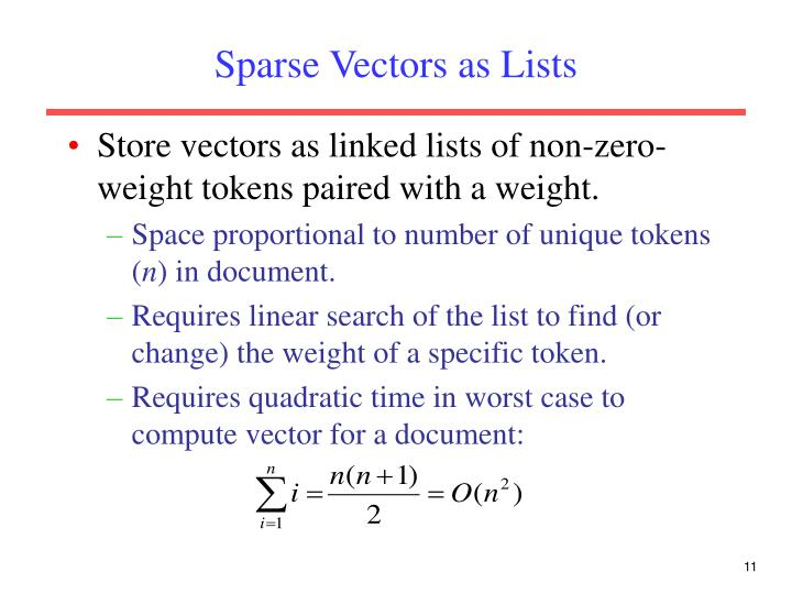 Sparse Vectors as Lists