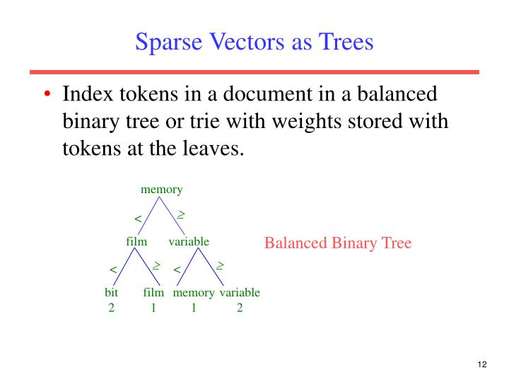 Sparse Vectors as Trees