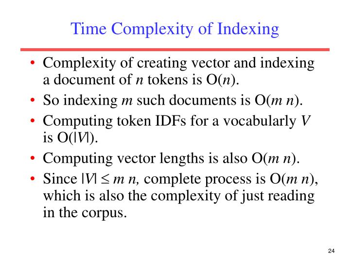 Time Complexity of Indexing