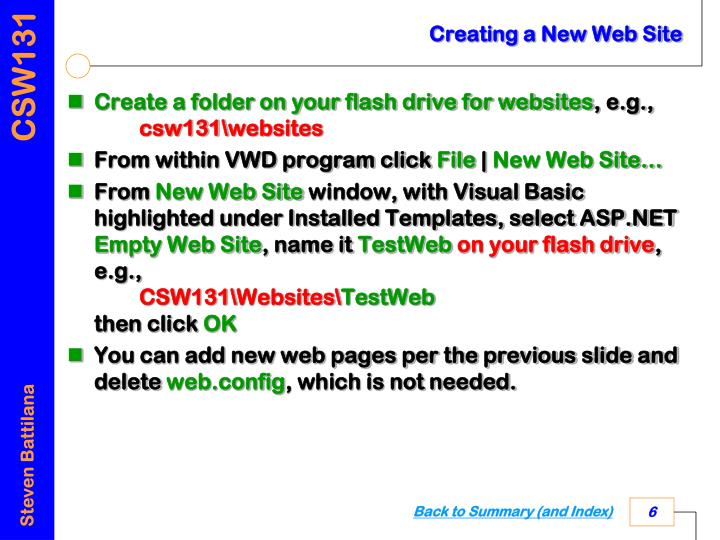 Creating a New Web Site