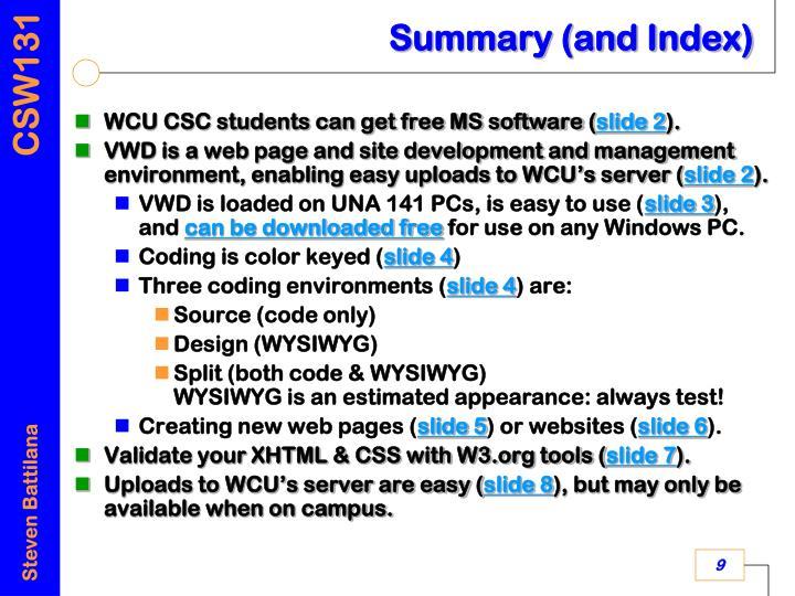 Summary (and Index)