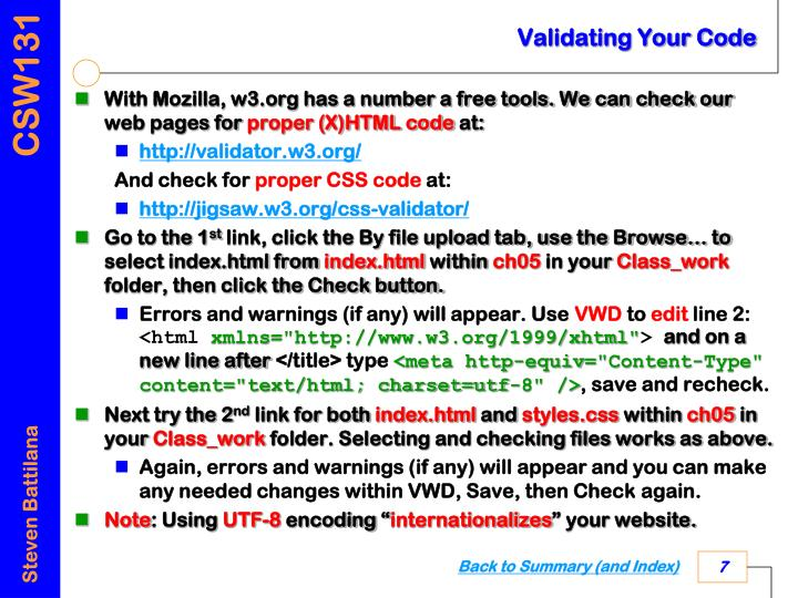 Validating Your Code