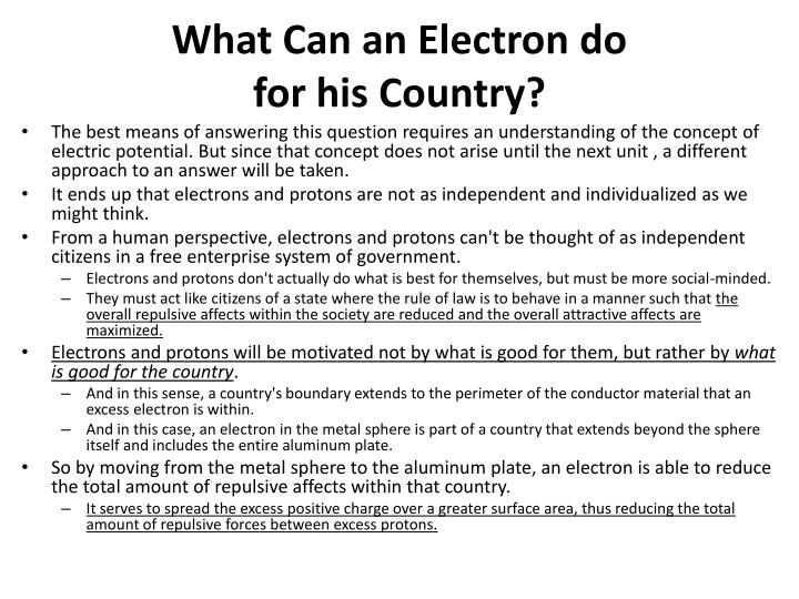 What Can an Electron do