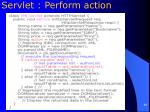 servlet perform action